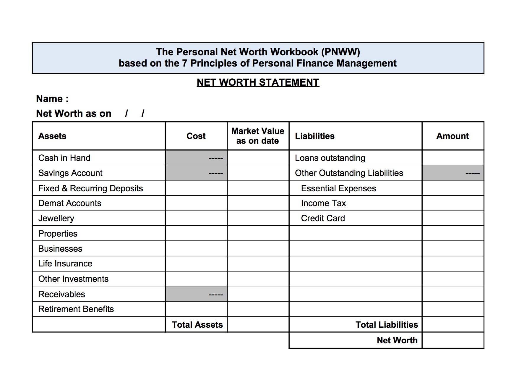 Personal Net Worth Work Book Soft Copy